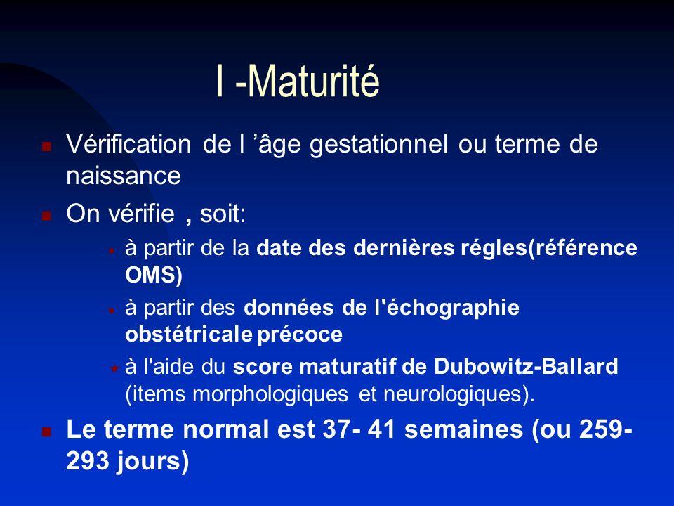 I -Maturité Vérification de l âge gestationnel ou terme de naissance On vérifie, soit: à partir de la date des dernières régles(référence OMS) à parti