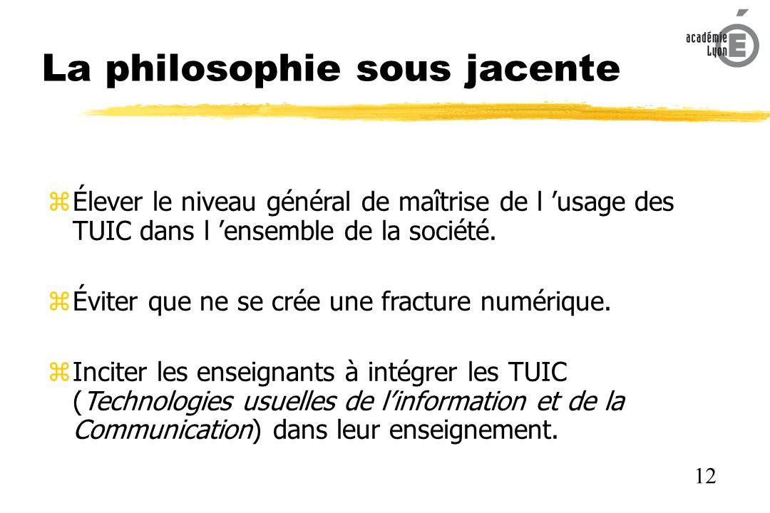 La philosophie sous jacente Élever le niveau général de maîtrise de l usage des TUIC dans l ensemble de la société.