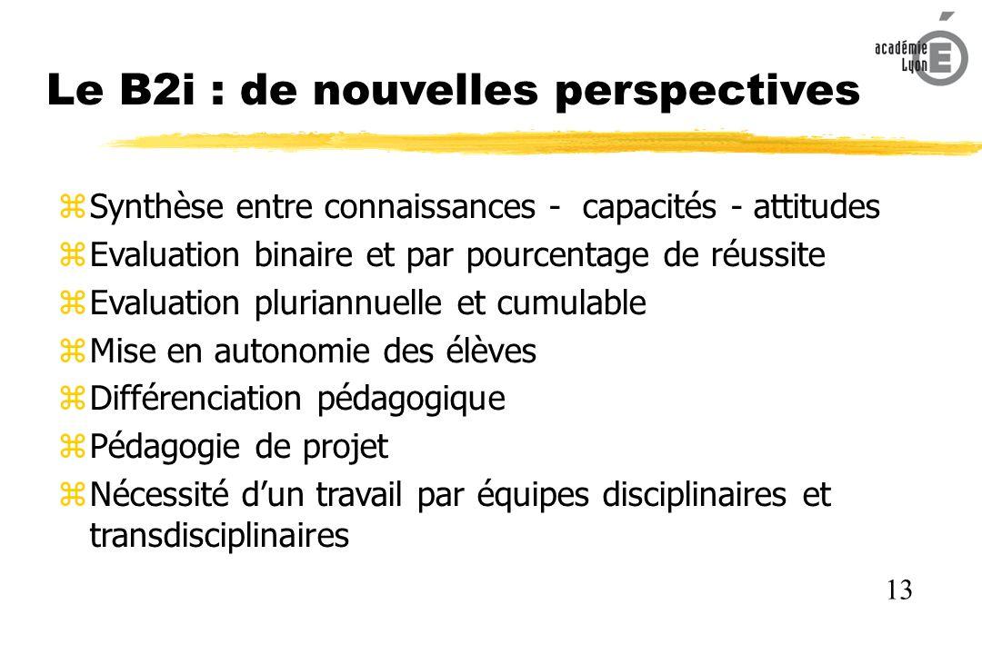 Le B2i : de nouvelles perspectives Synthèse entre connaissances - capacités - attitudes Evaluation binaire et par pourcentage de réussite Evaluation pluriannuelle et cumulable Mise en autonomie des élèves Différenciation pédagogique Pédagogie de projet Nécessité dun travail par équipes disciplinaires et transdisciplinaires 13