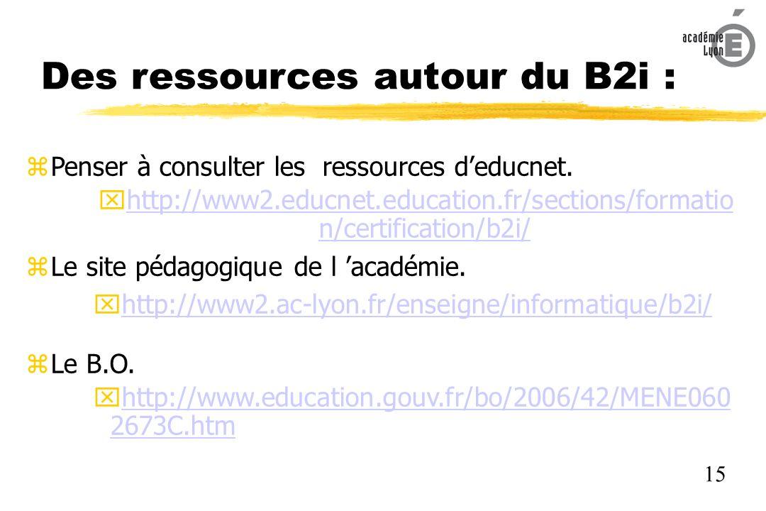 Des ressources autour du B2i : Penser à consulter les ressources deducnet.