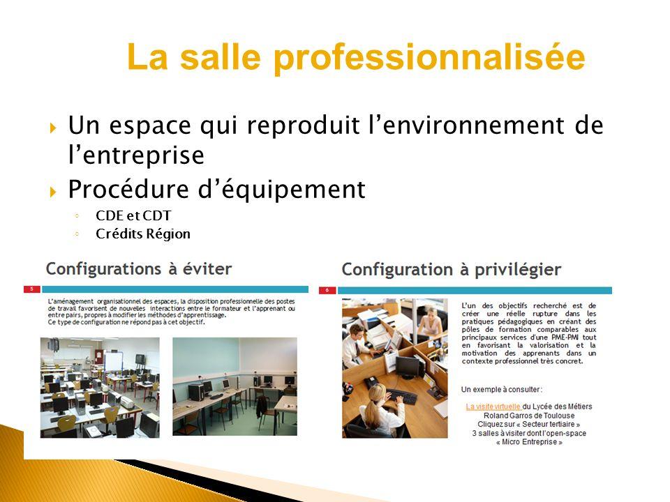 Un espace qui reproduit lenvironnement de lentreprise Procédure déquipement CDE et CDT Crédits Région La salle professionnalisée