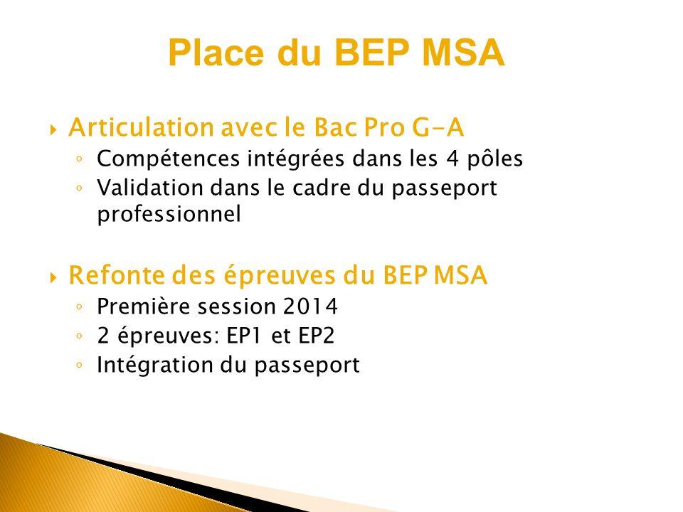 Articulation avec le Bac Pro G-A Compétences intégrées dans les 4 pôles Validation dans le cadre du passeport professionnel Refonte des épreuves du BE