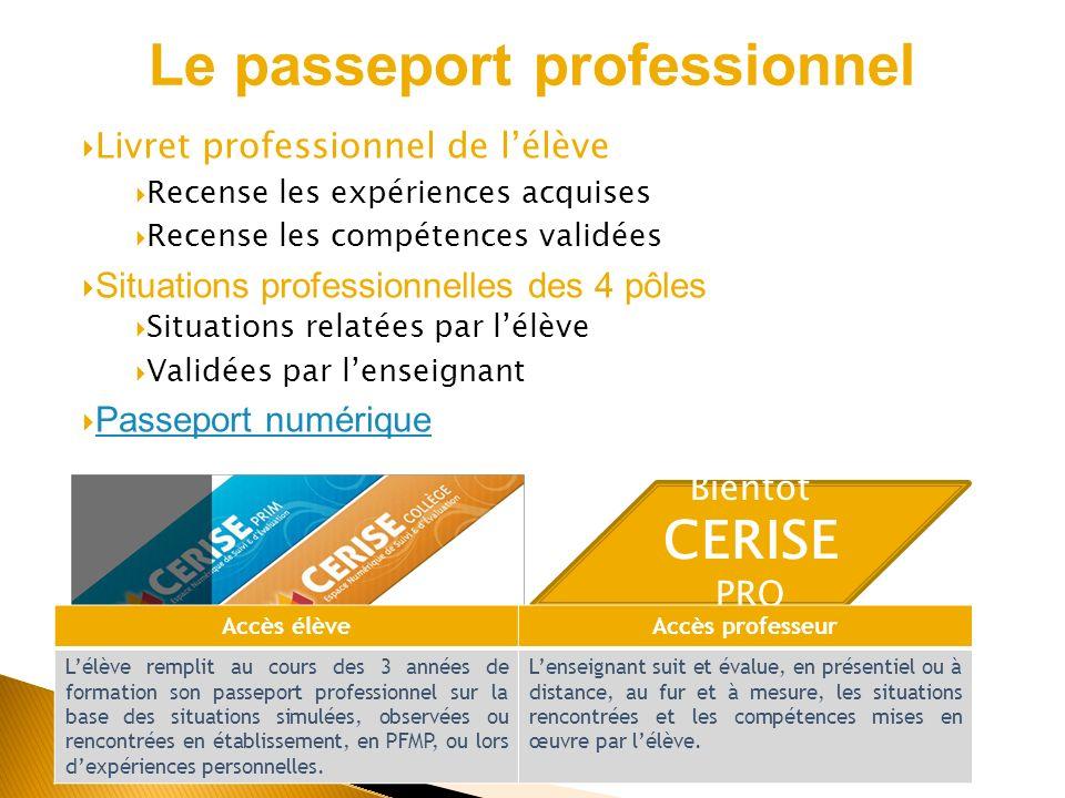 Bientôt CERISE PRO Accès élèveAccès professeur Lélève remplit au cours des 3 années de formation son passeport professionnel sur la base des situation