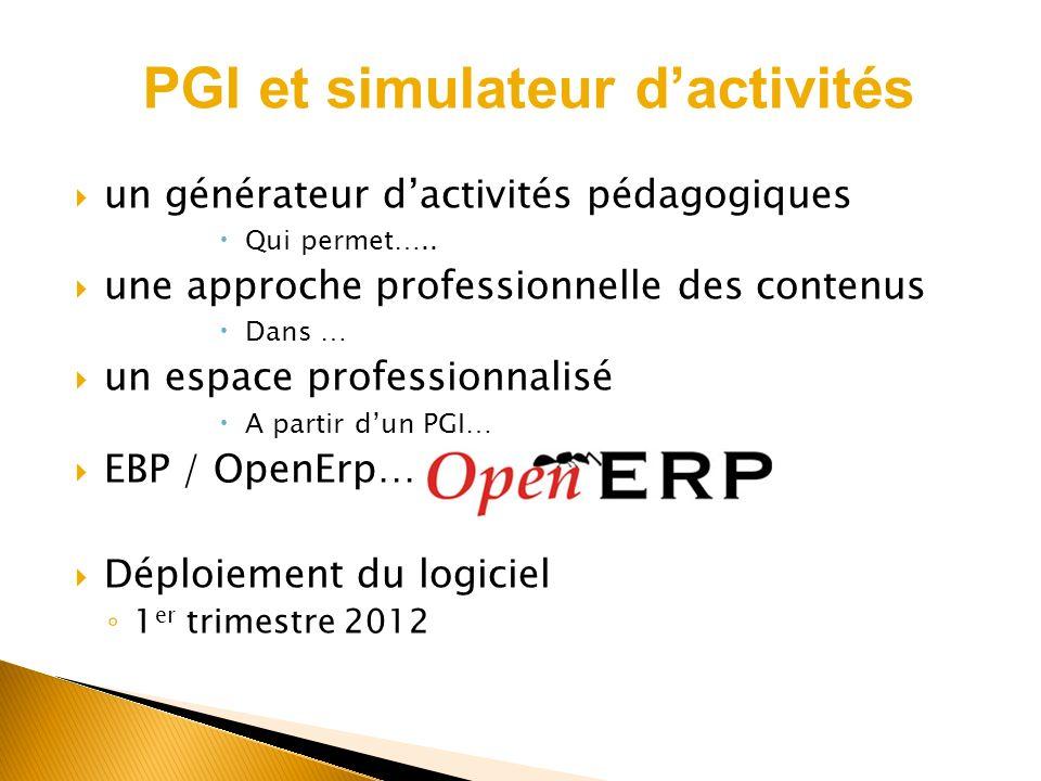 un générateur dactivités pédagogiques Qui permet….. une approche professionnelle des contenus Dans … un espace professionnalisé A partir dun PGI… EBP