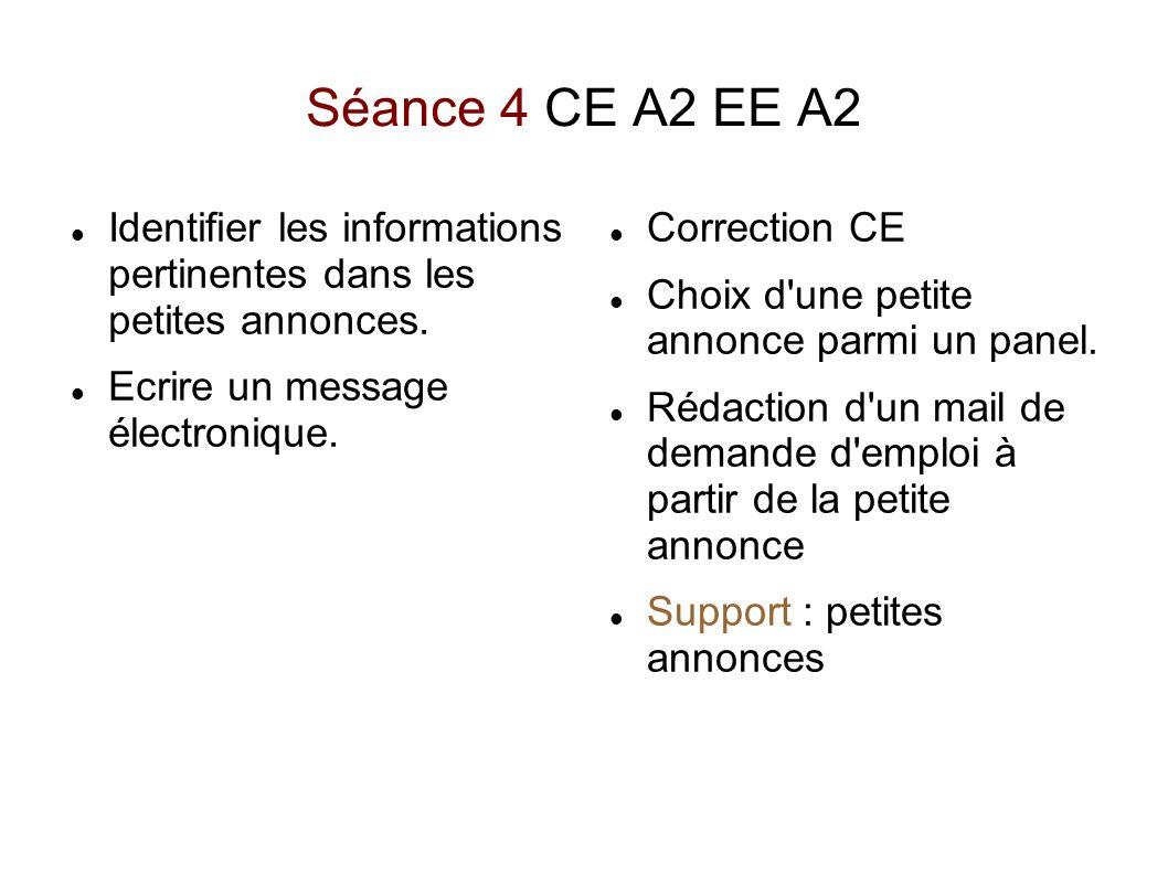 Séance 4 CE A2 EE A2 Identifier les informations pertinentes dans les petites annonces. Ecrire un message électronique. Correction CE Choix d'une peti