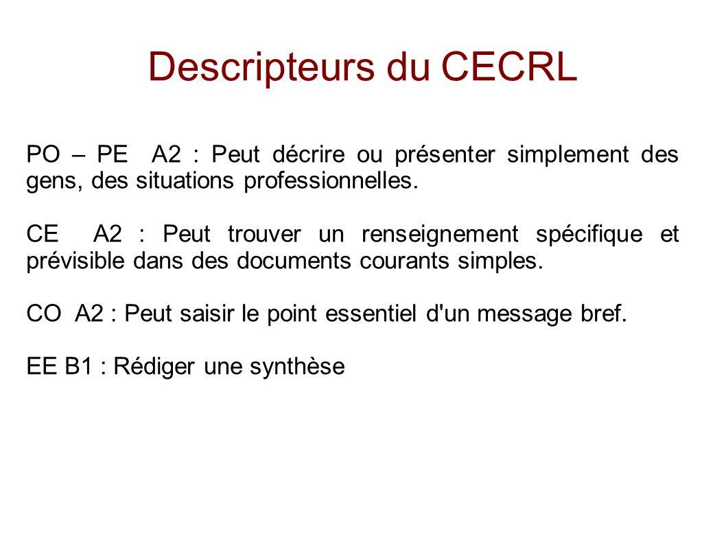 Descripteurs du CECRL PO – PE A2 : Peut décrire ou présenter simplement des gens, des situations professionnelles. CE A2 : Peut trouver un renseigneme