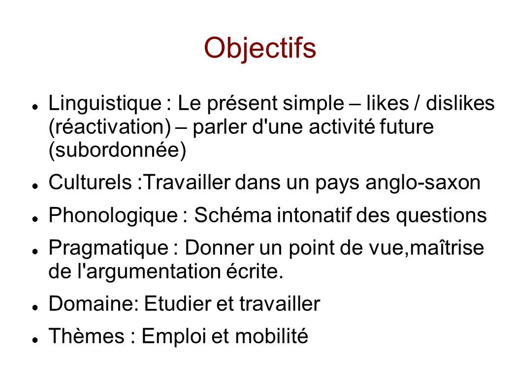 Objectifs Linguistique : Le présent simple – likes / dislikes (réactivation) – parler d'une activité future (subordonnée) Culturels :Travailler dans u