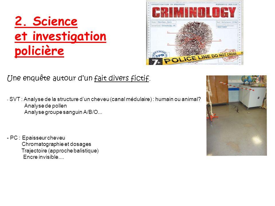 2. Science et investigation policière Une enquête autour dun fait divers fictif. - SVT : Analyse de la structure dun cheveu (canal médulaire) : humain