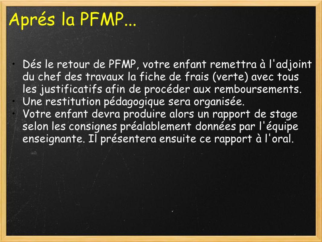 Aprés la PFMP... Dés le retour de PFMP, votre enfant remettra à l'adjoint du chef des travaux la fiche de frais (verte) avec tous les justificatifs af