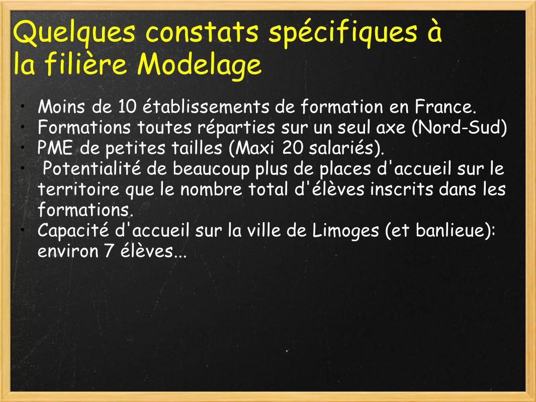 Quelques constats spécifiques à la filière Modelage Moins de 10 établissements de formation en France. Formations toutes réparties sur un seul axe (No