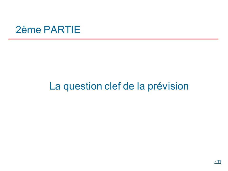 - 11 2ème PARTIE La question clef de la prévision