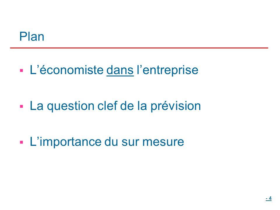 - 4 Plan Léconomiste dans lentreprise La question clef de la prévision Limportance du sur mesure