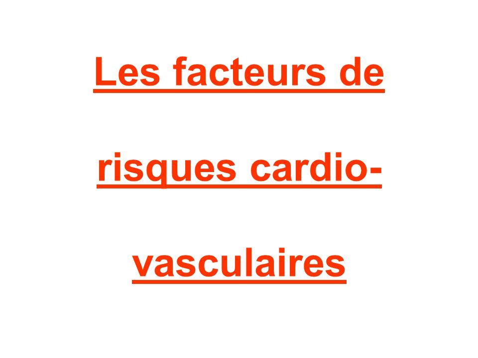 II) les facteurs modifiables: D) Dyslipidémie – cholestérol Causes de l excès de cholestérol : –une alimentation riche en graisses saturées –un terrain génétique particulier –certaines maladies (rein, foie et thyroïde) –certaines familles de médicaments (pilule, cortisone, etc.)