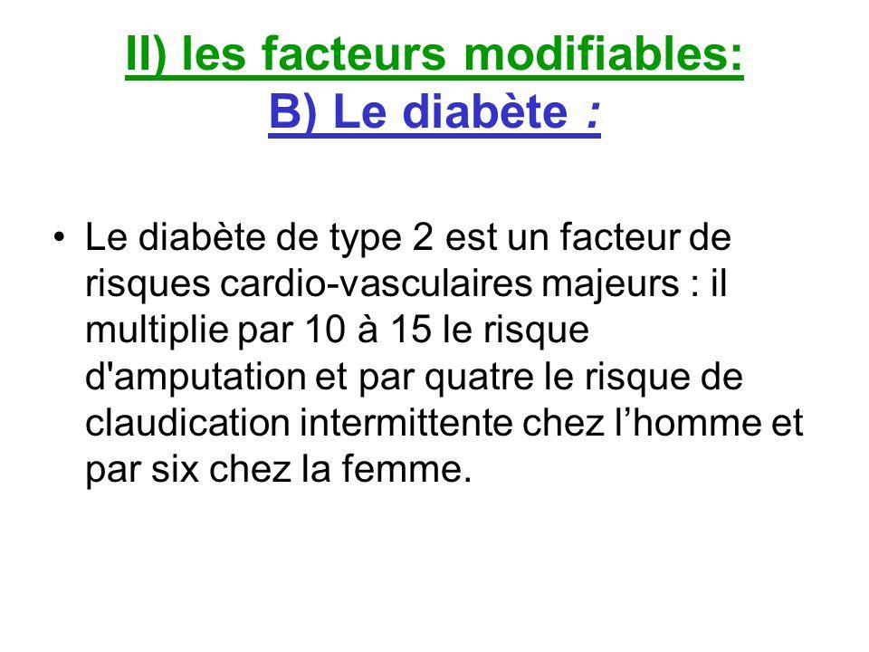 II) les facteurs modifiables: B) Le diabète : Le diabète de type 2 est un facteur de risques cardio-vasculaires majeurs : il multiplie par 10 à 15 le