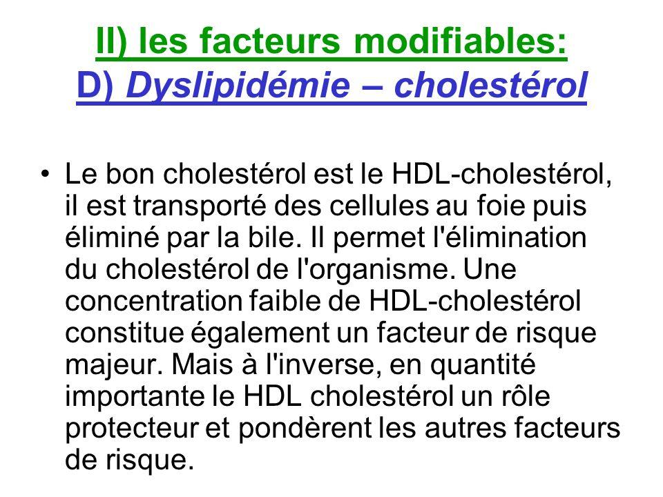 II) les facteurs modifiables: D) Dyslipidémie – cholestérol Le bon cholestérol est le HDL-cholestérol, il est transporté des cellules au foie puis éli