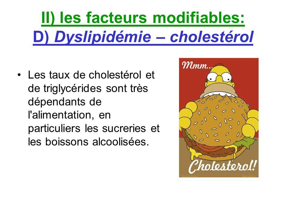 II) les facteurs modifiables: D) Dyslipidémie – cholestérol Les taux de cholestérol et de triglycérides sont très dépendants de l'alimentation, en par