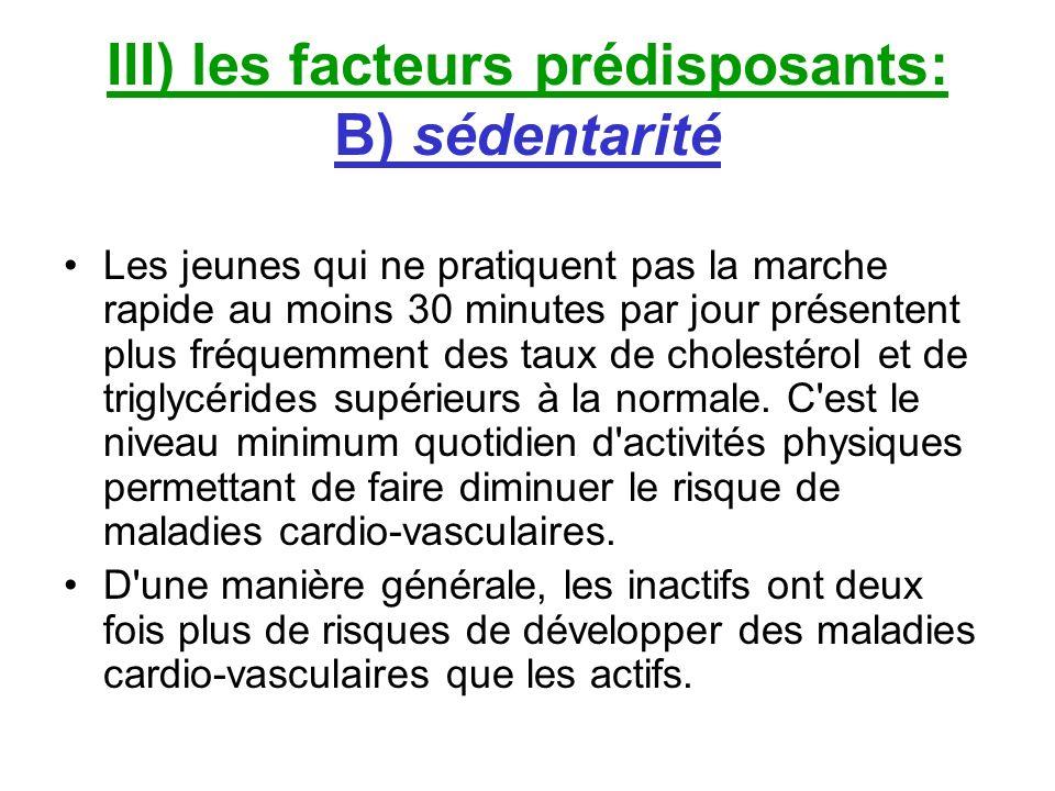 III) les facteurs prédisposants: B) sédentarité Les jeunes qui ne pratiquent pas la marche rapide au moins 30 minutes par jour présentent plus fréquem