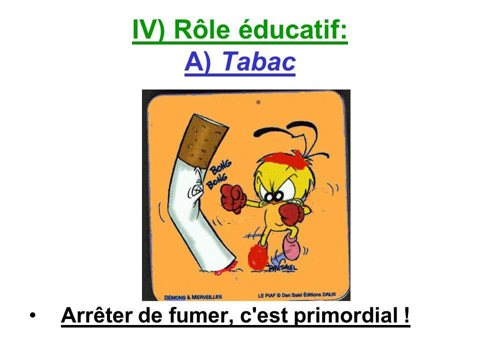 IV) Rôle éducatif: A) Tabac Arrêter de fumer, c'est primordial !