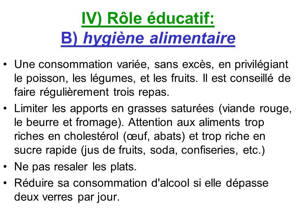 IV) Rôle éducatif: B) hygiène alimentaire Une consommation variée, sans excès, en privilégiant le poisson, les légumes, et les fruits. Il est conseill