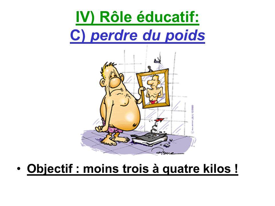 IV) Rôle éducatif: C) perdre du poids Objectif : moins trois à quatre kilos !