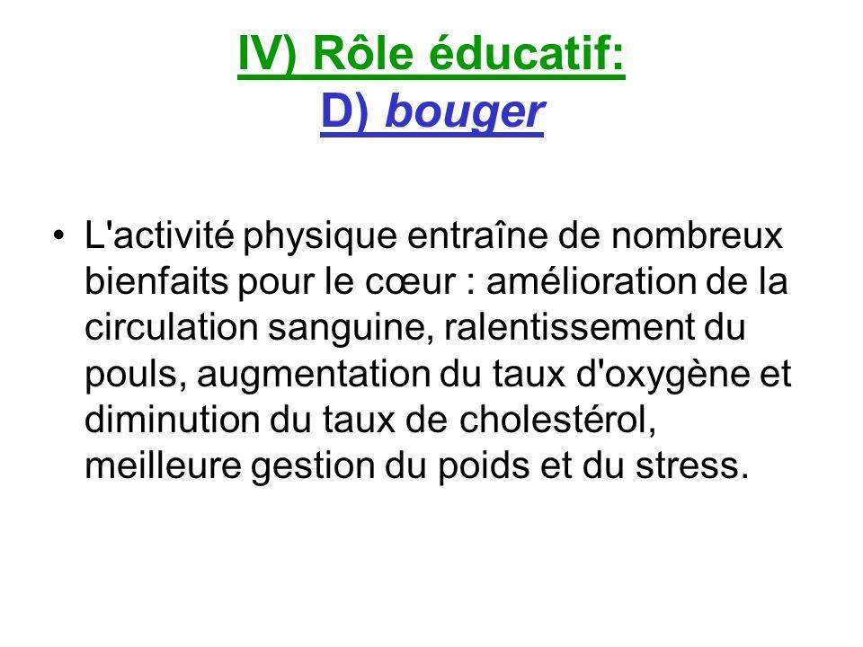 IV) Rôle éducatif: D) bouger L'activité physique entraîne de nombreux bienfaits pour le cœur : amélioration de la circulation sanguine, ralentissement