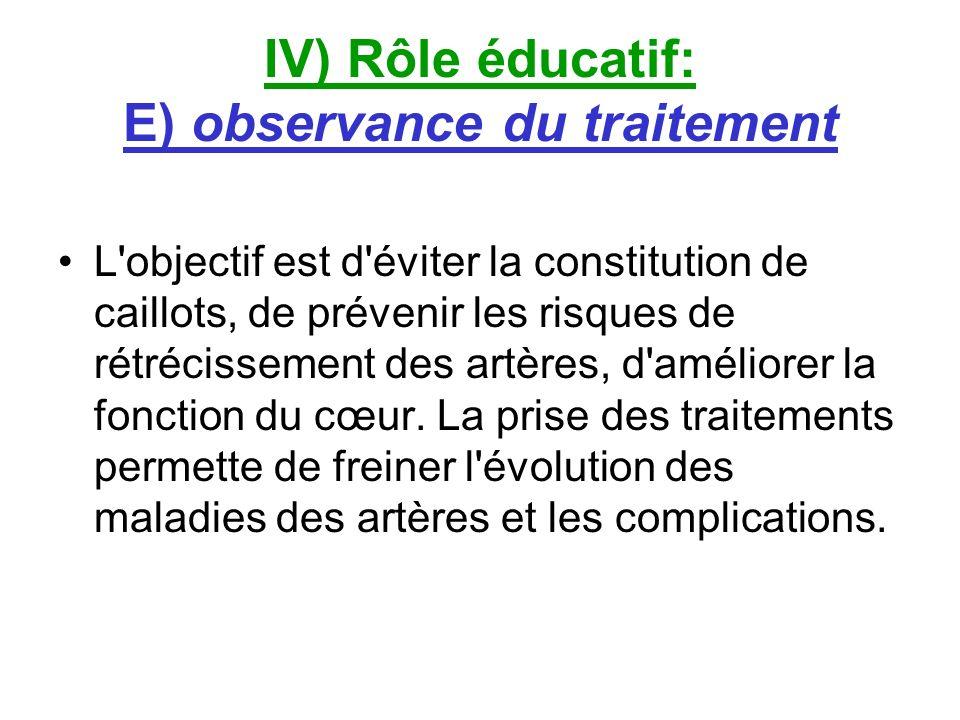 IV) Rôle éducatif: E) observance du traitement L'objectif est d'éviter la constitution de caillots, de prévenir les risques de rétrécissement des artè