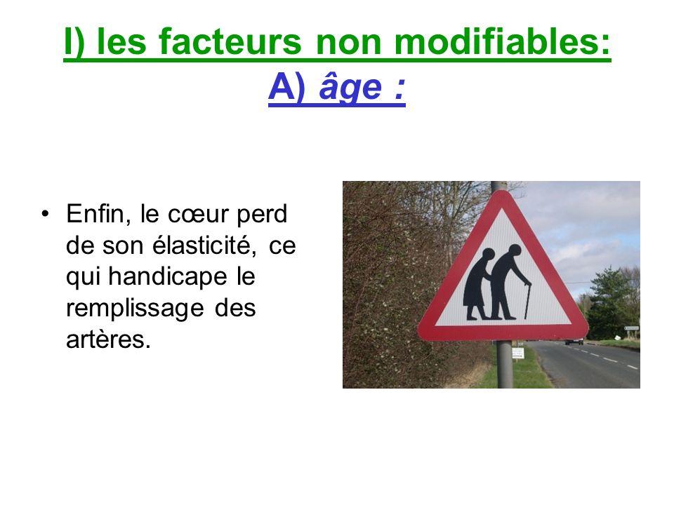 I) les facteurs non modifiables: A) âge : Enfin, le cœur perd de son élasticité, ce qui handicape le remplissage des artères.