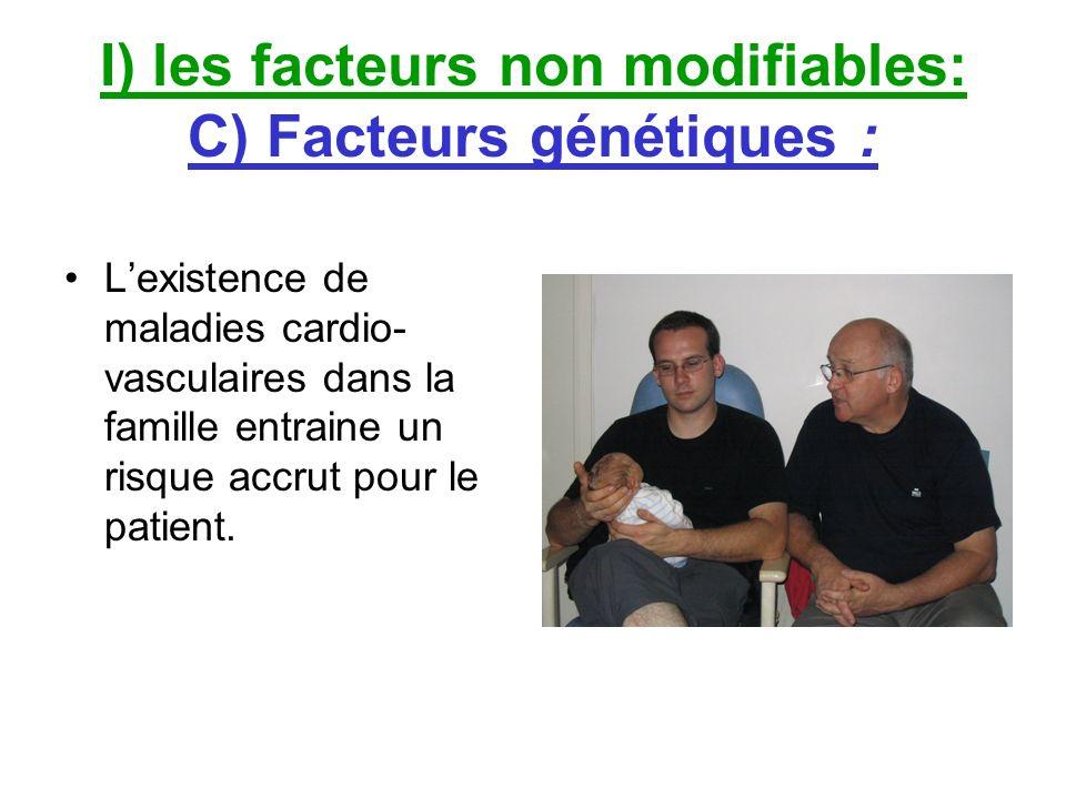 I) les facteurs non modifiables: C) Facteurs génétiques : Lexistence de maladies cardio- vasculaires dans la famille entraine un risque accrut pour le