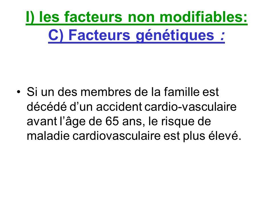 I) les facteurs non modifiables: C) Facteurs génétiques : Si un des membres de la famille est décédé dun accident cardio-vasculaire avant lâge de 65 a