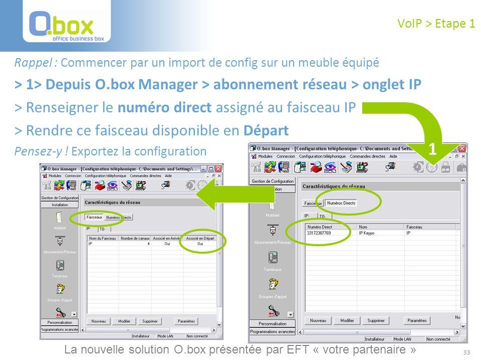 33 VoIP > Etape 1 Rappel : Commencer par un import de config sur un meuble équipé > 1> Depuis O.box Manager > abonnement réseau > onglet IP > Renseign
