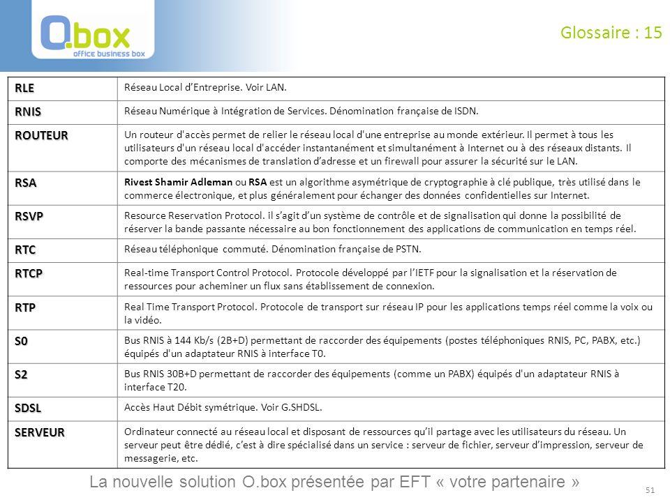 51 Glossaire : 15 RLE Réseau Local dEntreprise. Voir LAN. RNIS Réseau Numérique à Intégration de Services. Dénomination française de ISDN. ROUTEUR Un