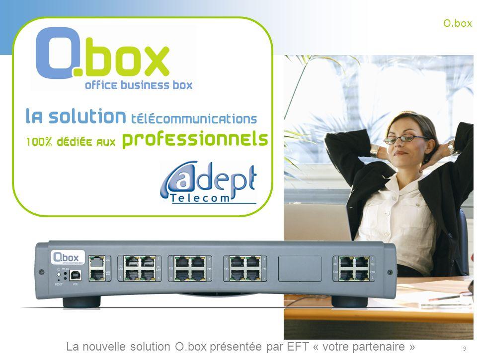 9 O.box La solution télécommunications 100% dédiée aux professionnels La nouvelle solution O.box présentée par EFT « votre partenaire »