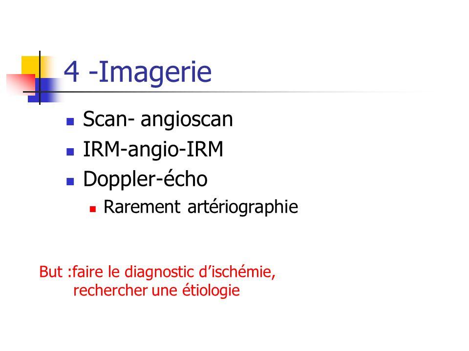 4 -Imagerie Scan- angioscan IRM-angio-IRM Doppler-écho Rarement artériographie But :faire le diagnostic dischémie, rechercher une étiologie