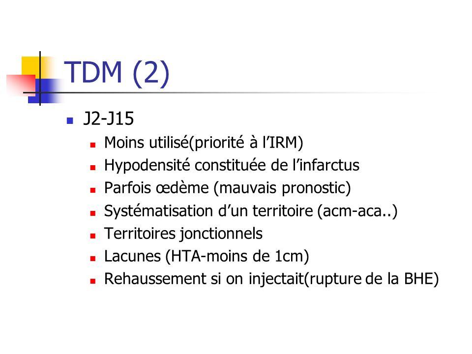 TDM (2) J2-J15 Moins utilisé(priorité à lIRM) Hypodensité constituée de linfarctus Parfois œdème (mauvais pronostic) Systématisation dun territoire (a