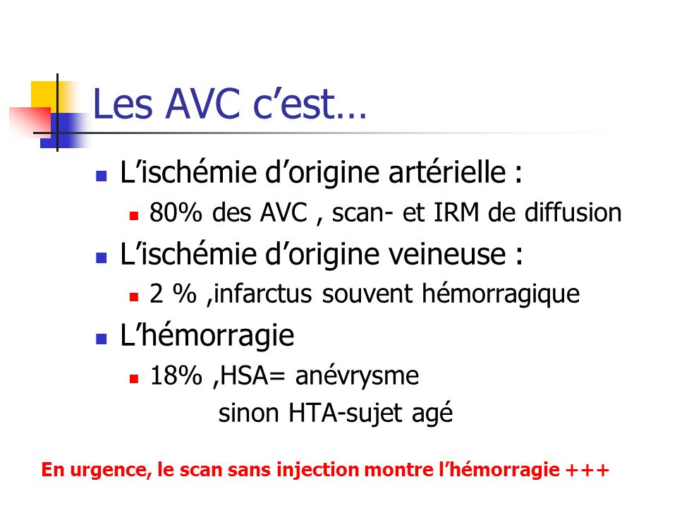 Les AVC cest… Lischémie dorigine artérielle : 80% des AVC, scan- et IRM de diffusion Lischémie dorigine veineuse : 2 %,infarctus souvent hémorragique