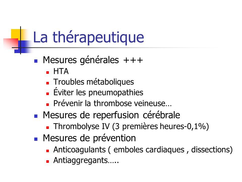 La thérapeutique Mesures générales +++ HTA Troubles métaboliques Éviter les pneumopathies Prévenir la thrombose veineuse… Mesures de reperfusion céréb