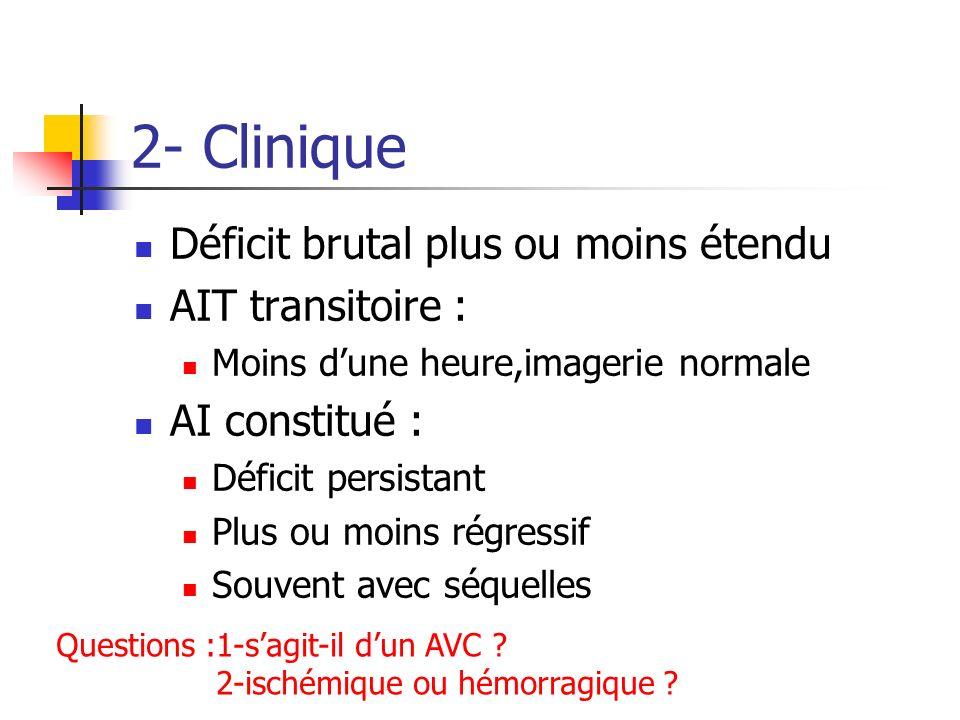 2- Clinique Déficit brutal plus ou moins étendu AIT transitoire : Moins dune heure,imagerie normale AI constitué : Déficit persistant Plus ou moins ré