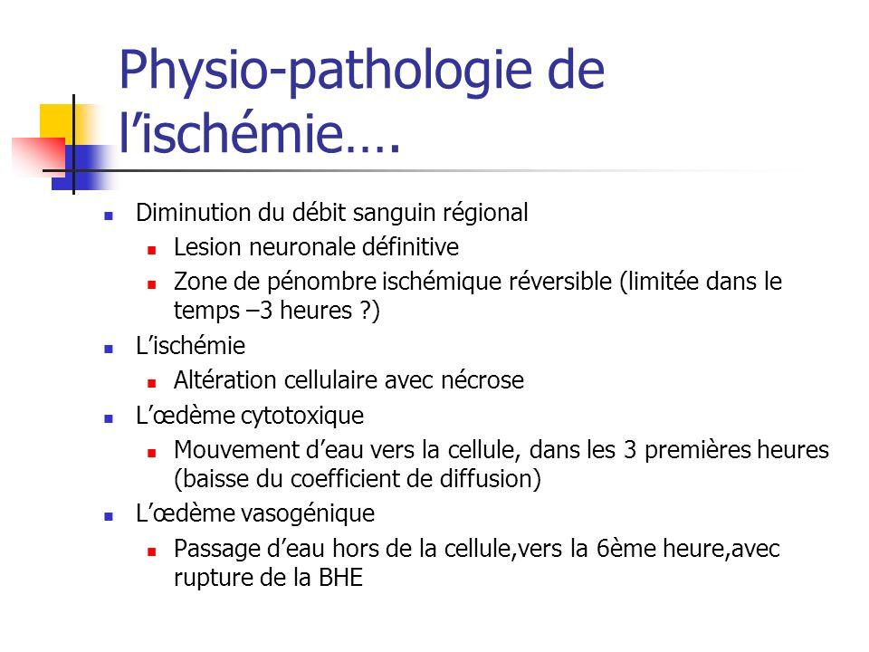 Physio-pathologie de lischémie…. Diminution du débit sanguin régional Lesion neuronale définitive Zone de pénombre ischémique réversible (limitée dans