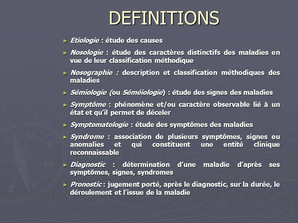 DEFINITIONS Etiologie : étude des causes Etiologie : étude des causes Nosologie : étude des caractères distinctifs des maladies en vue de leur classif