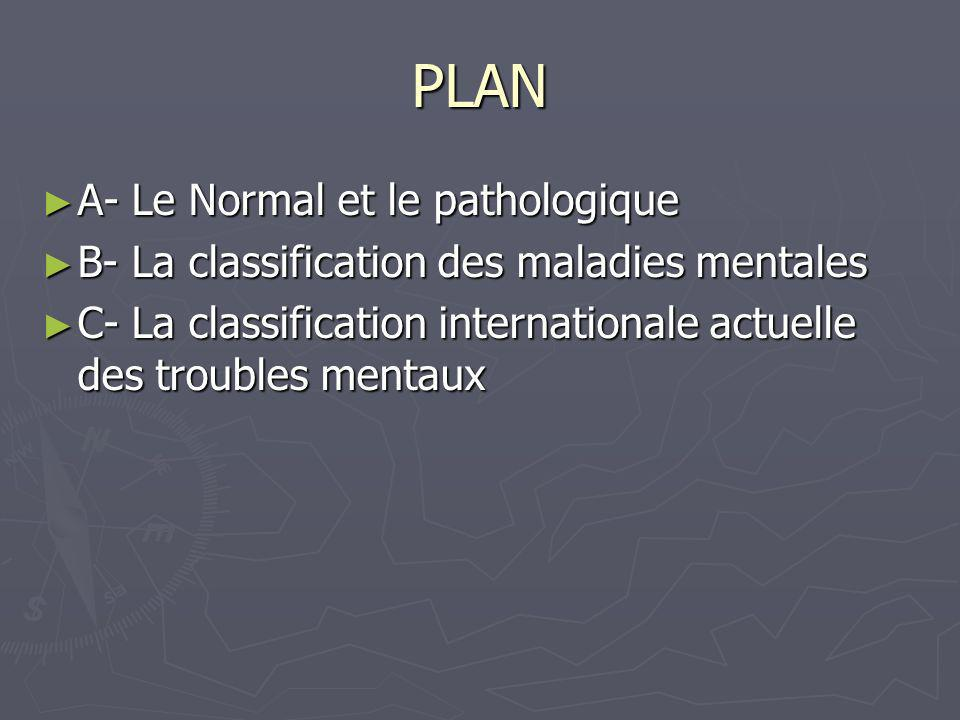 PLAN A- Le Normal et le pathologique A- Le Normal et le pathologique B- La classification des maladies mentales B- La classification des maladies ment