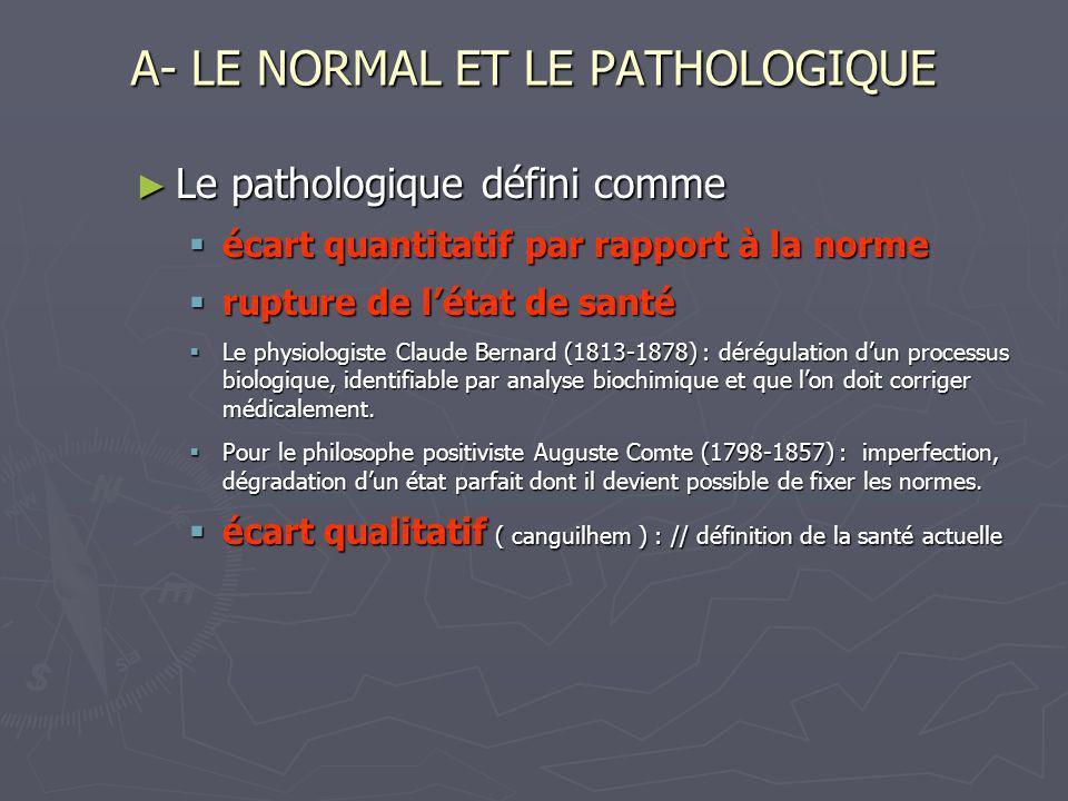A- LE NORMAL ET LE PATHOLOGIQUE Le pathologique défini comme Le pathologique défini comme écart quantitatif par rapport à la norme écart quantitatif p