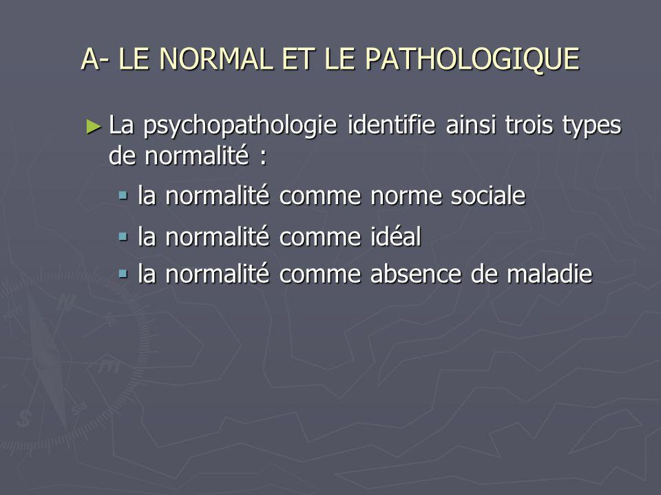 A- LE NORMAL ET LE PATHOLOGIQUE La psychopathologie identifie ainsi trois types de normalité : La psychopathologie identifie ainsi trois types de norm