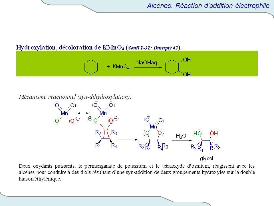 Mécanisme réactionnel (syn-dihydroxylation): Deux oxydants puissants, le permanganate de potassium et le tétraoxyde dosmium, réagissent avec les alcèn