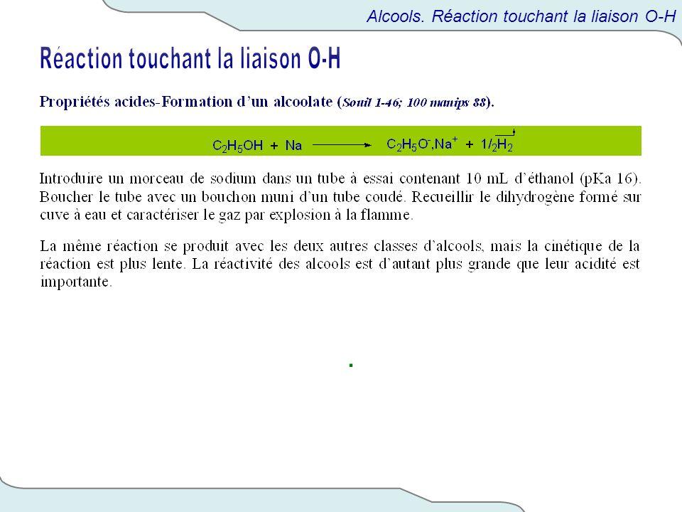 . Alcools. Réaction touchant la liaison O-H