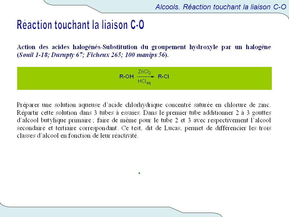 . Alcools. Réaction touchant la liaison C-O