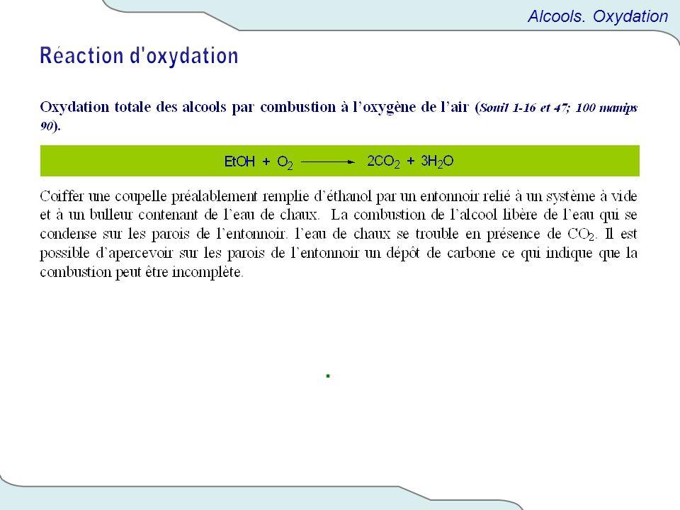 . Alcools. Oxydation