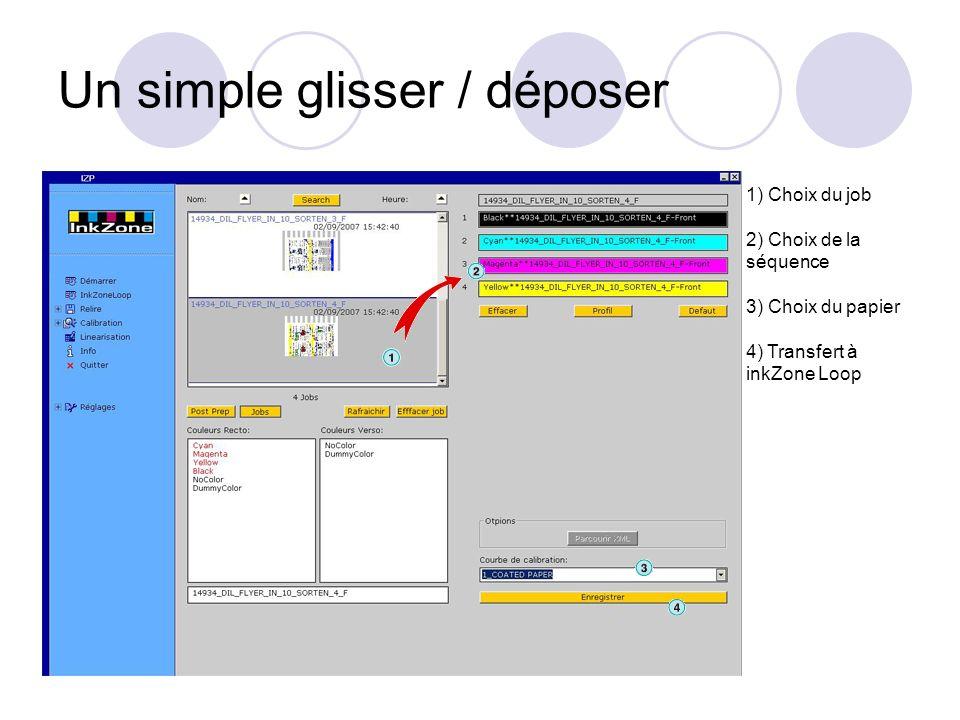 Un simple glisser / déposer 1) Choix du job 2) Choix de la séquence 3) Choix du papier 4) Transfert à inkZone Loop