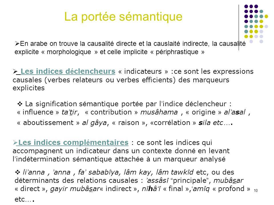 10 Les indices d é clencheurs « indicateurs » :ce sont les expressions causales (verbes relateurs ou verbes efficients) des marqueurs explicites La si