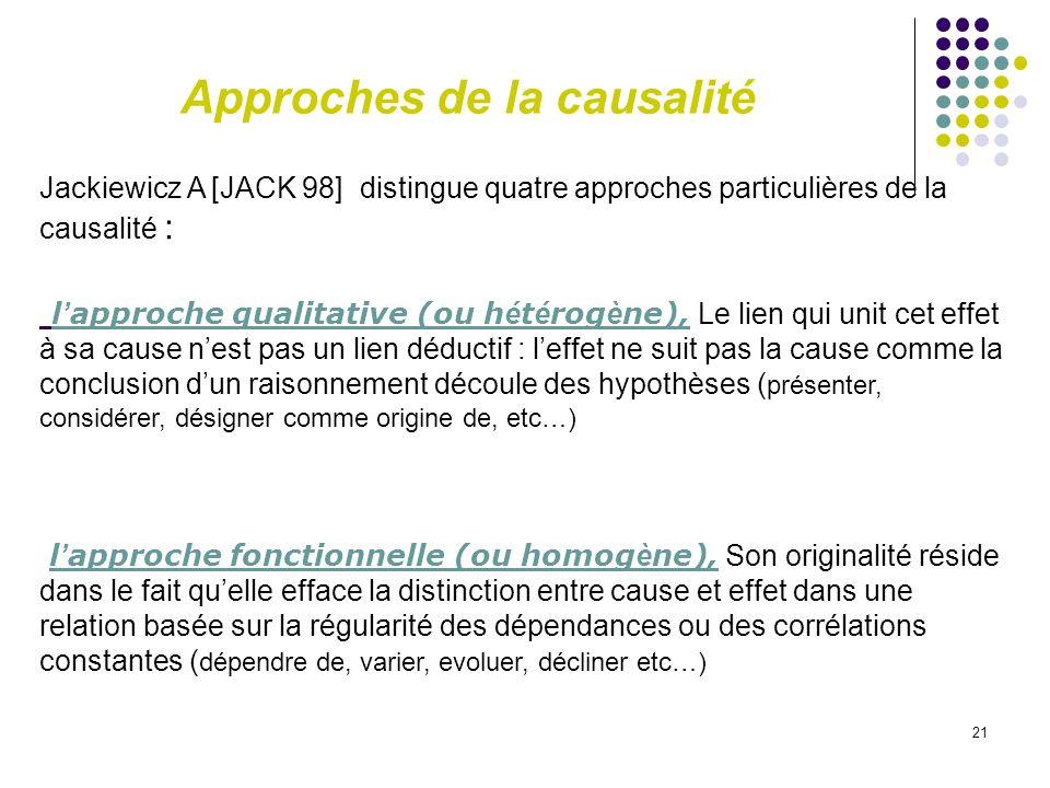 21 Jackiewicz A [JACK 98] distingue quatre approches particulières de la causalité : l approche qualitative (ou h é t é rog è ne), Le lien qui unit ce
