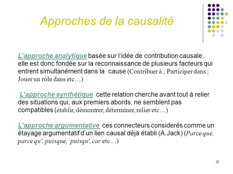 22 Lapproche analytique basée sur lidée de contribution causale, elle est donc fondée sur la reconnaissance de plusieurs facteurs qui entrent simultan